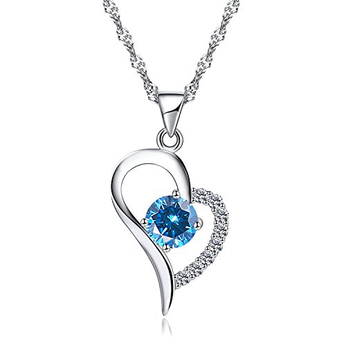 women ladies girls pendant necklace_terling silver pendant necklace_crystal cubic zirconia pendant necklace_hypoallergenic necklace jewelry