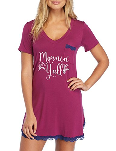 GUANYY Women's Nightgown Cotton Sleepshirt Sexy Lace Chemise Sleepwear Wine Red XL