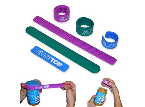 - SlapTop Rubber Jar and Bottle Lid Grippers for Weak and Arthritic Hands. Automatically Coils Around Lids to Provide a Soft, Non-slip Hand Grip and Powerful Lid Gripping for Twist-off Sticking Lids