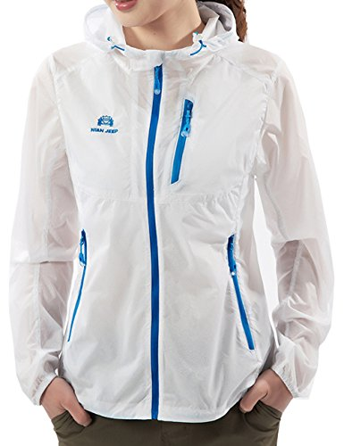 Micmall Super Lightweight UPF 50+ UV Protection Quick Drying Windproof Jacket White M