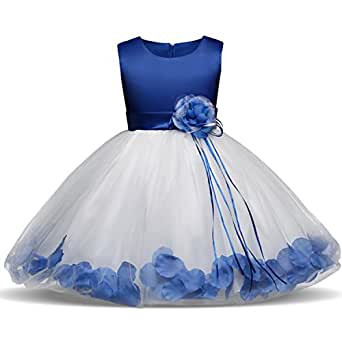 NNJXD Girl Tutu Flower Petals Bow Bridal Dress For Toddler Girl Size 3-4 Years Big Blue 1