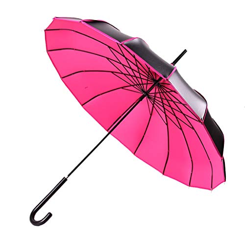 Yusan 16k Pagoda Travel Umbrella, Waterproof and Windproof with Hook Handle, Lightweight Compact Portable, Parasol Anti-Uv Parasol Sunproof (Color : Rose Red, Size : 2 pcs) (Automatic 16k Rose)