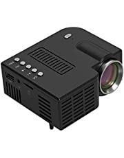 Mini Projector, Portable Home Theater Movie Projector with 20,000 Hrs LED Lamp Life, Full HD 1080P Supported, Compatible with TV, HD, TF, AV and USB(White) zhaoyun (Color : Black)