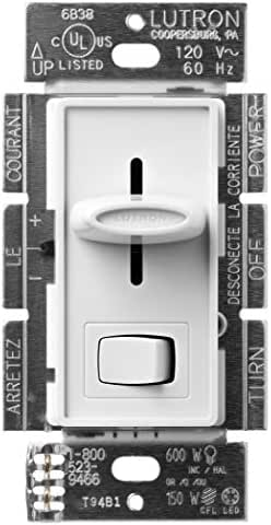 Lutron Skylark C.L Dimmer for dimmable LED, Halogen and Incandescent Bulbs, Single-Pole or 3-Way, SCL-153P-WH, White