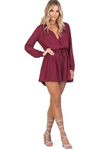 Zhaoyun Womens Long sleeve V Neck Overlay Tie Waist Short Romper Jumpsuits Wred-M (Sexiest Plus Size Outfits)