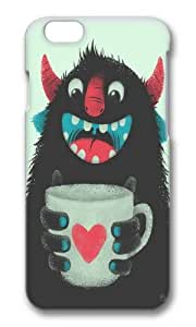 Zheng caseApple Iphone 6 Case,WENJORS Adorable Demon with a cup of coffee Hard Case Protective Shell Cell Phone Cover For Apple Iphone 6 (4.7 Inch) - PC 3D