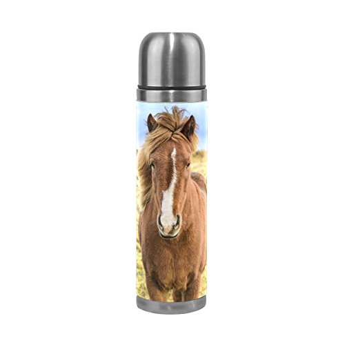 - ALAZA Icelandic Horse Stainless Steel Water Bottle 17 Oz Double Wall Vacuum Insulated Thermos Flask Genuine Leather Wrapped Cover