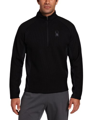(Spyder Men's Outbound Half Zip Mid Weight Core Sweater, Black/Black, Small)