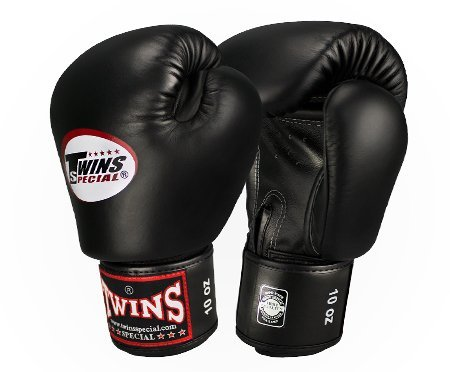 Twins Special Boxing Gloves Velcro (Black) (12 Ounce)