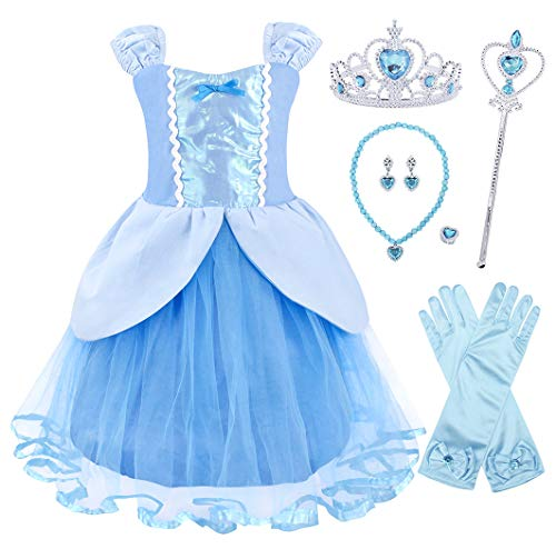 (AmzBarley Cinderella Costume for Girls Halloween Fancy Party Cosplay Outfit Kids Birthday Dancing Wedding School Talent Show Clothes Halloween Dress up with Accessories Size)