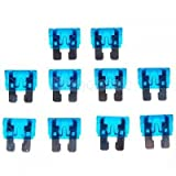 10pcs 15A 32V Blue Standard Blade Fuses Replacement for Auto Car
