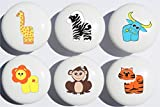 Safari Drawer Pulls Multicolored Set of 6/Jungle Ceramic Drawer Knobs/Children's Nursery Decor with Zebra, Monkey, Tigers, Lion, Water Buffalo and Giraffe