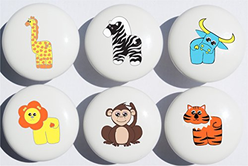(Jungle Safari Drawer Pulls Multicolored Set of 6 / African Wildlife Animal Ceramic Drawer Knobs/Children's Nursery Decor with Zebra, Monkey, Tigers, Lion, Water Buffalo and Giraffe)