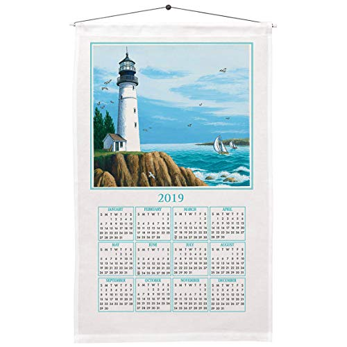 (Miles Kimball 1 Year Lighthouse Calendar Towel - Included Dowel and Hanging String Allow for Instant Hanging - Linen and Cotton Blend, 16 in. by 27 in.)