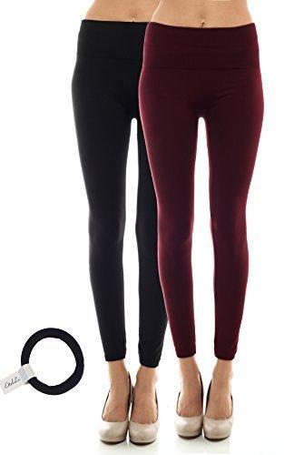 Fleece Lined high waist Leggings for women with EttelLut Hair Band 2PK BLK BURGANDY OS