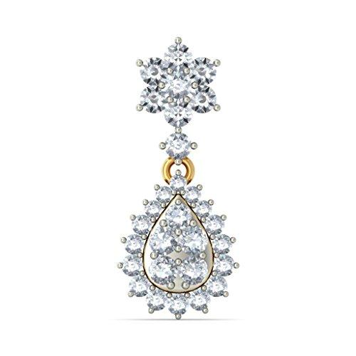 14K Or jaune 1.29carat au total White-diamond (IJ | SI) Pendants d'oreilles
