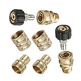 8 Pcs Durable Quick Coupler Male Socket Kit, No Leakage Quick Coupler Plug Pressure Washer Accessories Screw Nipple