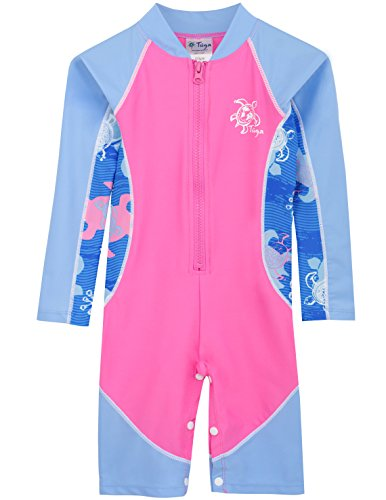 Tuga Girls High Tide L/S Swimsuit (UPF 50+), Pink Wave, 6-12 -