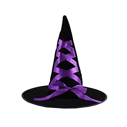 [Spring fever Adult Womens Witch Deluxe Hat Halloween Costume Accessory Caps Dress Up Purple Tip Strap Hat] (Ladies German Soldier Costume)