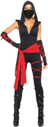 Leg Avenue Deadly Ninja Costume (Leg Avenue Women's Deadly Ninja, Large, Black/Red)