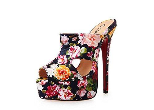 HeiSiMei Sandali delle donne / scarpe sexy / tacco a spillo / bocca dei pesci / Spesso impermeabile piattaforma / Party & Sera / Nightclub / Uomo / Unisex , Flower , EU48 FLOWER-EU45