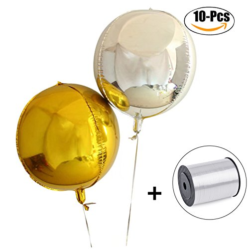 FunPa Aluminum Balloon, 10Pcs Latex Balloon 4D Round Decoration Balloon Wedding Balloon with Rope