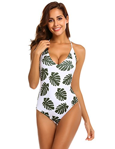Lace Up Wig - Ekouaer Women's One Piece Swimsuits Monokini Lace up U Back Bathing Suit, 6043-white Army Green, XXL (fit US 18-20)
