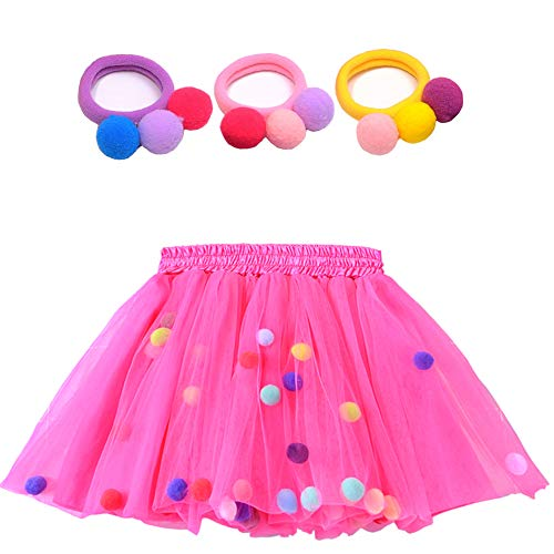 Bingoshine 4 Layers Soft Tulle Puff Ball Girls Tutu Skirts with Silky Lining Colorful Princess Costumes for Dressing Up. (Rose, XL,7-8Years)