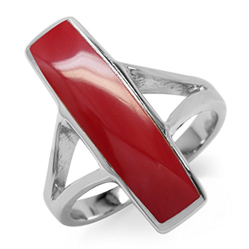 925 Sterling Silver Coral Ring (Long Red Created Coral White Gold Plated 925 Sterling Silver Ring Size 10)