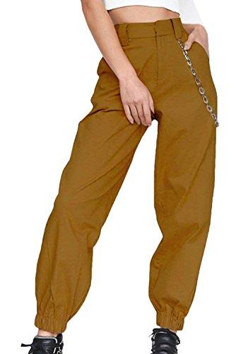 Fashion Estivi Abbigliamento Donna Allentato Tempo Eleganti Accogliente Pantaloni Ragazza Libero Solidi Chic Sportivi Primaverile Sportivi Colori Waist High Pantalone Gelb Pantaloni Pantaloni Sciolto qwSxCgwE