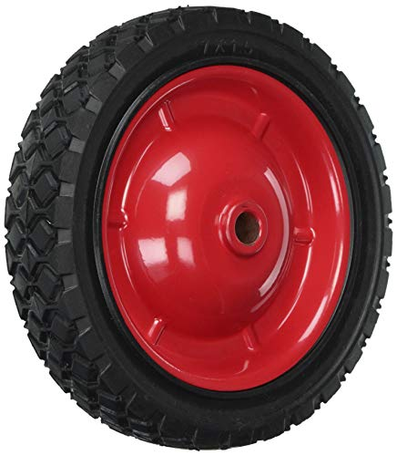 Shepherd Hardware 9593 7-Inch Semi-Pneumatic Rubber Tire, Steel Hub with Grafoil Bearings, Diamond Tread, 1/2-Inch Bore Offset Axle