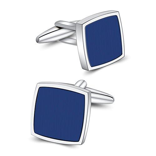Mr.Van Blue Onyx Cufflinks Platinum Plated Cuff Links Set Gemstone Reiki (Blue Cufflinks)