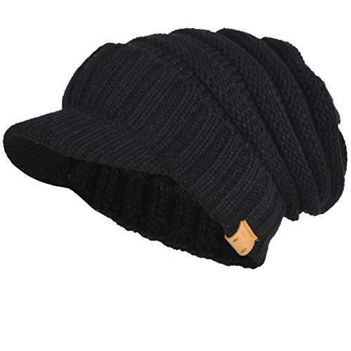 Mens Womens Thick Fleece Lined Knit Newsboy Cap Slouch Beanie Hat with Visor (Thick-Black) (Black Visor Beanie Mens)