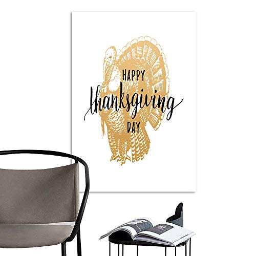 UHOO Linen Art Prints PicturesThanksgiving Day Lettering with Festive Turkey Illustration Vector Invitation or Holiday Greeting Card Template 2.jpg Wall Art for Bedroom Living Room 16