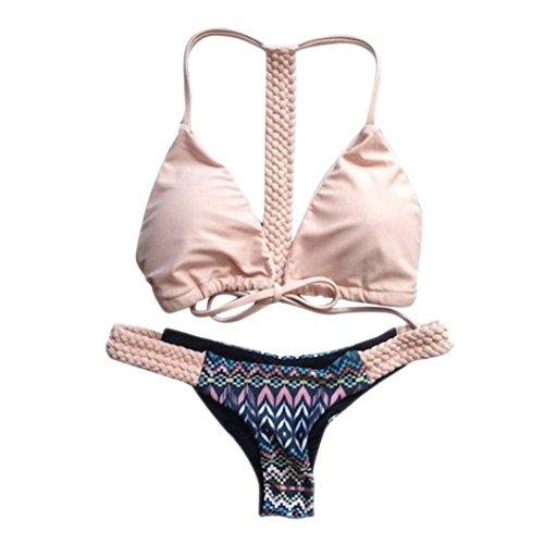 OverDose Push-up acolchado traje de baño Swimwear Bañador Moda mujer traje de baño bikini floral Rosa