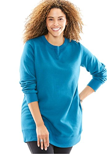 Woman Within Womens Plus Size Soft Knit Better Fleece Sweatshirt Tunic In Solids And Prints