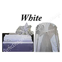 Perfectmaze Satin and Organza Combo Kit (1 Satin Table Runner / 5 Organza Chair Sashes Bow) for Wedding Party Event Decoration (White)