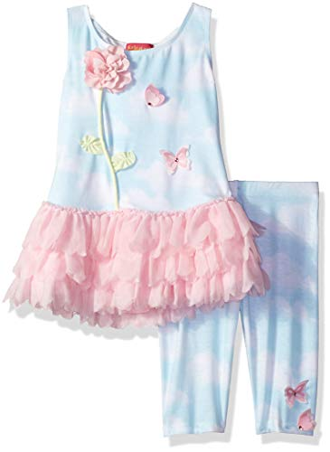Kate Mack Girls' Toddler Butterfly Sky Tunic & Legging Set, Blue, ()
