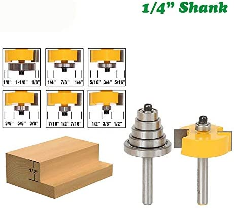 NO LOGO ZZB-ZT, 2ST 1/4 Schaft Rabbet Fräser mit 6 Bearings Set Adjustable Zapfenschneider Hartmetall Holzverarbeitung Bits (Size : 2PCS 1/4)