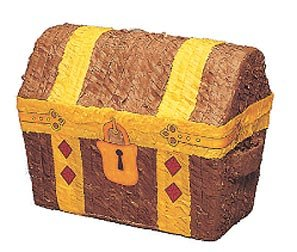 Adult Treasure Chest Pirate - Treasure Chest Pinata with Pull String Kit