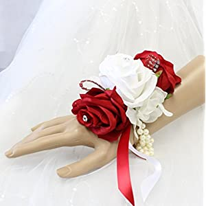 Angel Isabella Wrist Corsage-Keepsake Artificial Roses Hydrangea Large Wrist Flower Flower Prom Dance Graduation Events 12