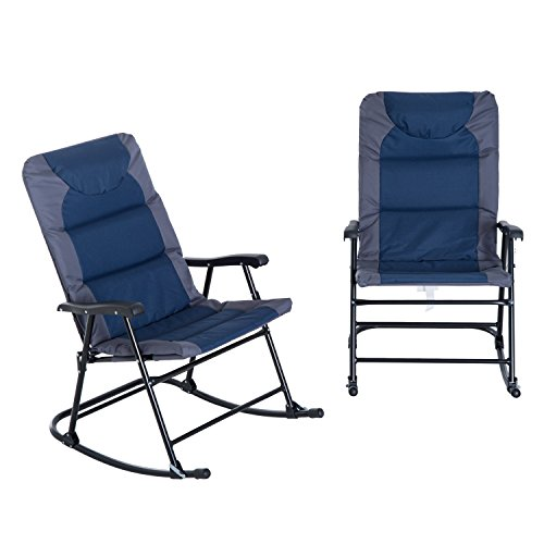 Outsunny Folding Padded Outdoor Camping Rocking Chair Set – Blue Grey