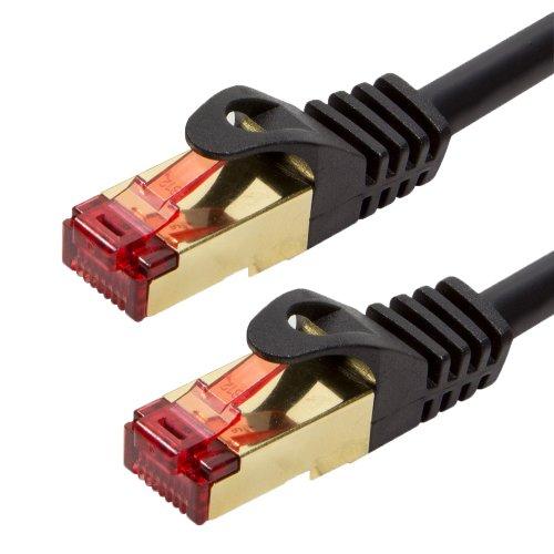BIGtec Premium 30m CAT.5e Ethernet LAN Patchkabel Gigabit Netzwerkkabel Patch Kabel schwarz folien und geflechtgeschirmt vergoldet (RJ45, Cat 5e, SFTP doppelt geschirmt , Screened Foiled Twisted Pair, 1000 Mbit/s) 2 x RJ45 Stecker ideal für Switch , DSL Verbindungen , Patchfelder , Patchpanel , Router , Modem , Access Point und andere Geräte mit RJ45 Anschluß ,CAT Kabel KAT Kabel CAT5 CAT 5e , geschirmtes Patchkabel SF/UTP