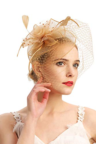Fascinators Hats 20s 50s Hat Pillbox Hat Cocktail Tea Party Headwear with Veil for Girls and Women(D-gold)