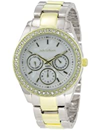 Womens Two-Tone Bracelet Watch Rhinestone Accented Large Face Jade LeBaum - JB202731G