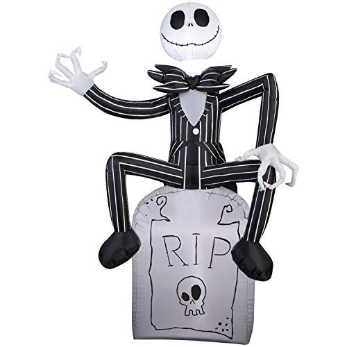 Jack Skeleton Decorations (Gemmy Halloween Inflatable 5 Jack Skellington on Grave Stone Nightmare Before Christmas Prop)