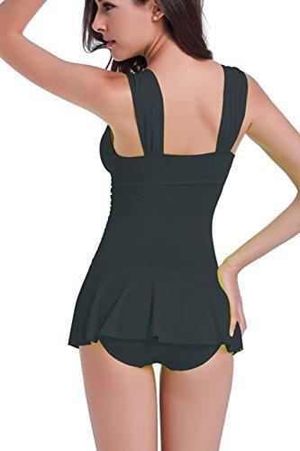 Casual de dos piezas columpio Tankini traje de baño de las mujeres Black