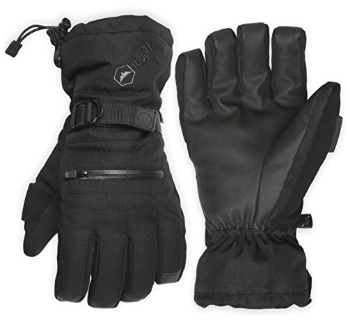 Double Black Ski & Snowboard Gloves - Waterproof Gloves with Nylon Shell Construction, Waterproof Zipper Pocket & Wrist Leashes - Designed for Skiing, Snowboarding, Shoveling - Touchscreen -