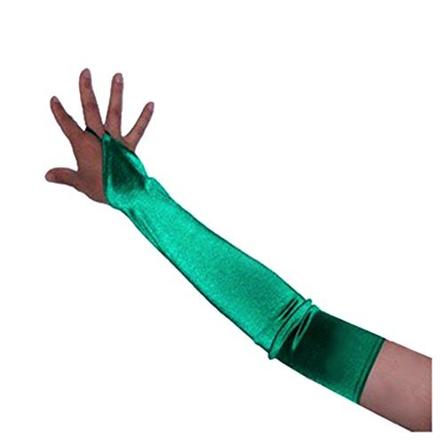 [SACASUSA (TM) Over the Elbow Length Fingerless Satin Gloves in Green one size] (2 Person Halloween Costume)