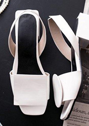 Ornement Mode Blanc Sandales Talon Arrière Carré Femme Aisun Bride fBxwqOw